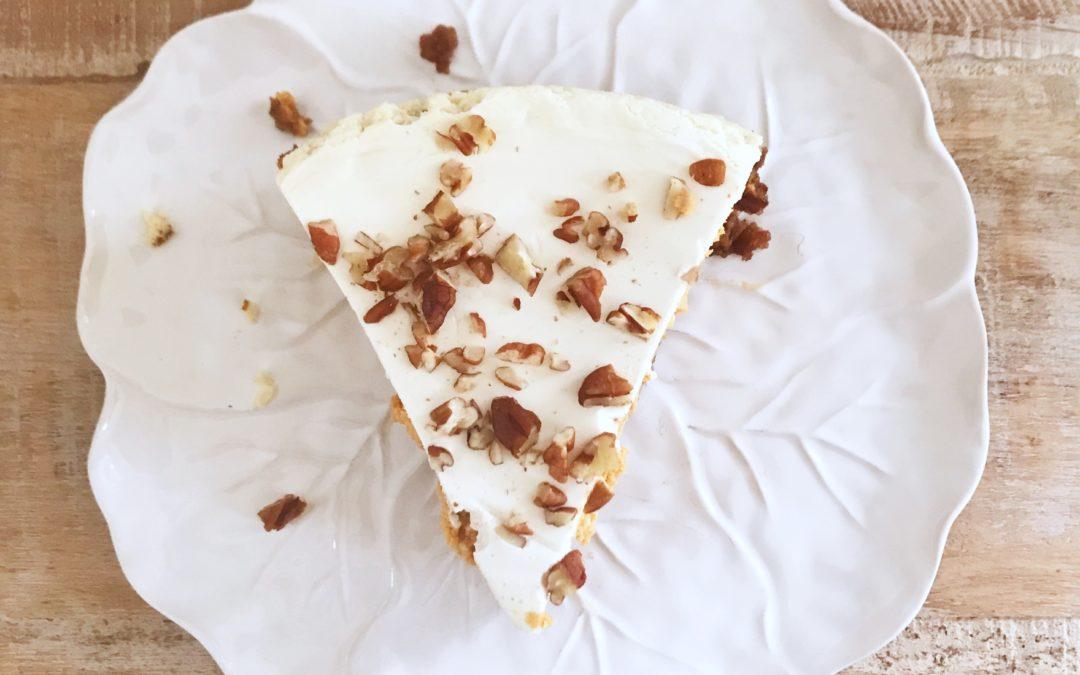 Pumpkin Chèvre Cheesecake with Bourbon-Sour Cream Topping