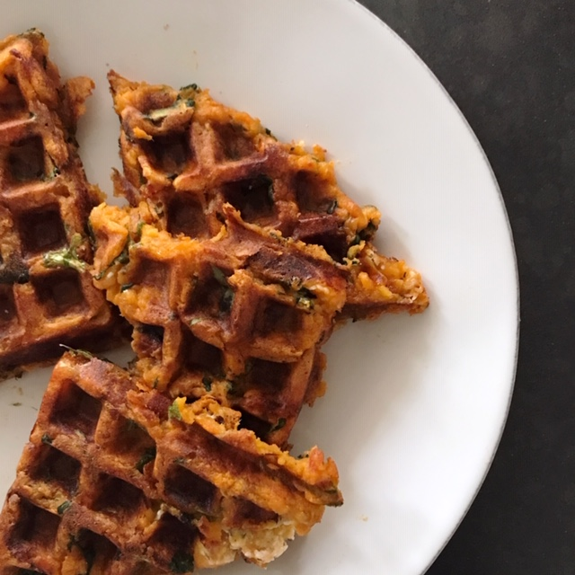 Mashed Potato, Bacon, Spinach & Herbed Goat Cheese Waffles.